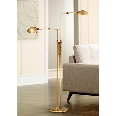 Antique brass halogen double pharmacy holtkoetter floor lamp 63761 lamps plus