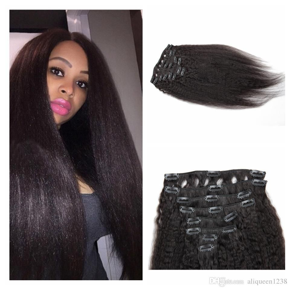 Peruvian Kinky Straight Clip In Hair Extensions Natural Color 8pcs