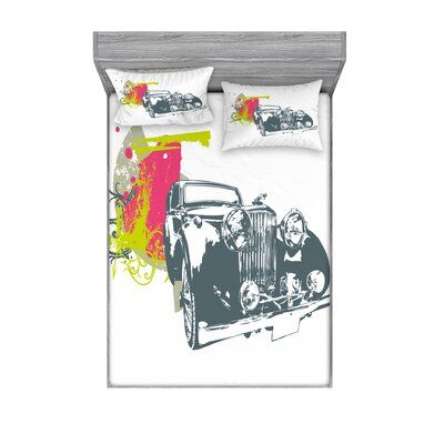 East Urban Home Classic Car with Grunge Effects Sheet set Size: Full/Double