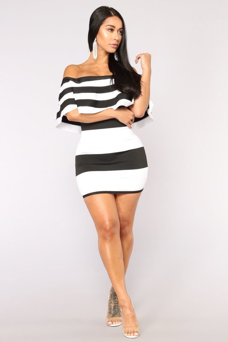 083a8017471bc4 Get A Clue Bandage Dress - Black/White in 2019 | baddie dresses ...