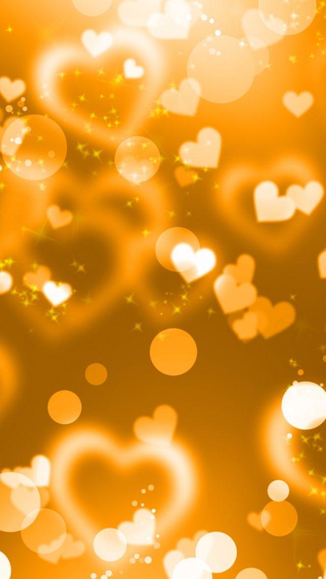 Glitter Sparkle Glow Iphone Wallpaper Orange Hearts Gold