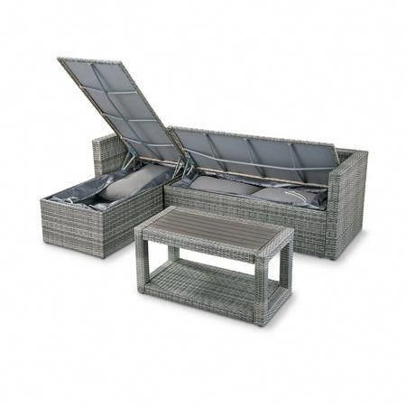 3 Piece Pacific Isles Resin Wicker Sectional Patio Furniture Set