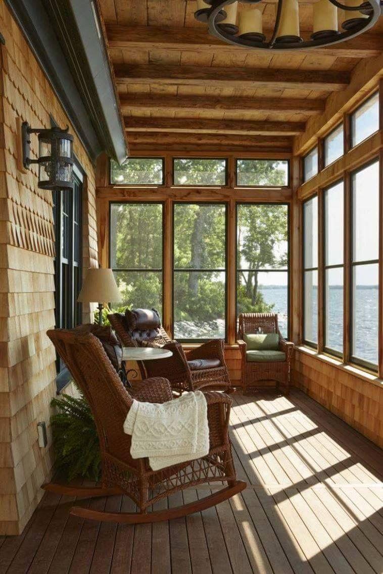 Log Style Adirondack Chairs Chair Repair Parts Varanda Fechada Com Vidro Em Madeira | Ideias Para A Casa Pinterest Varandas Fechadas ...