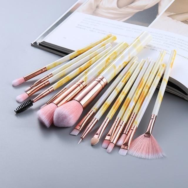 Marmor Design Makeup Pinsel Sets 5 Stück, 10 Stück, 15 Stück – 15 Stück gelb