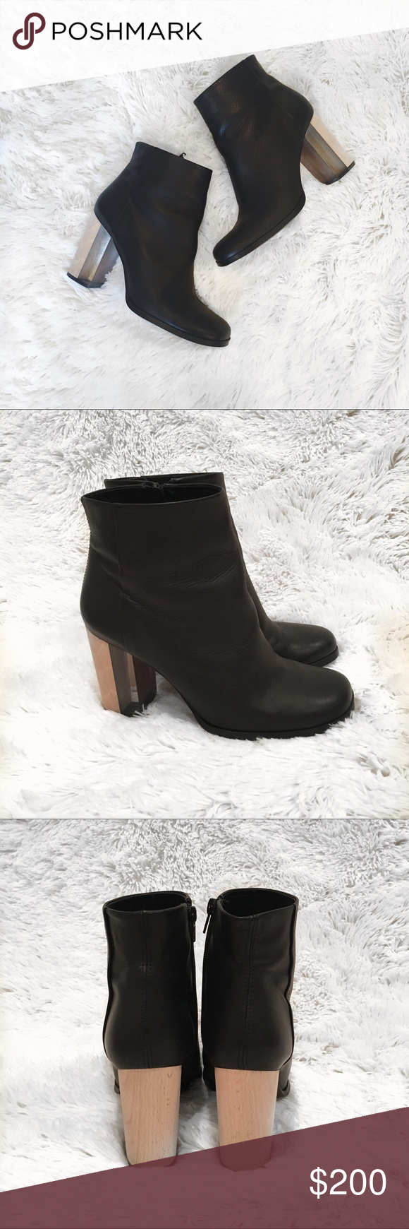 b71accea6f9 Miista Ali Black Leather Boot with Wood/Clear Heel Worn a few time ...