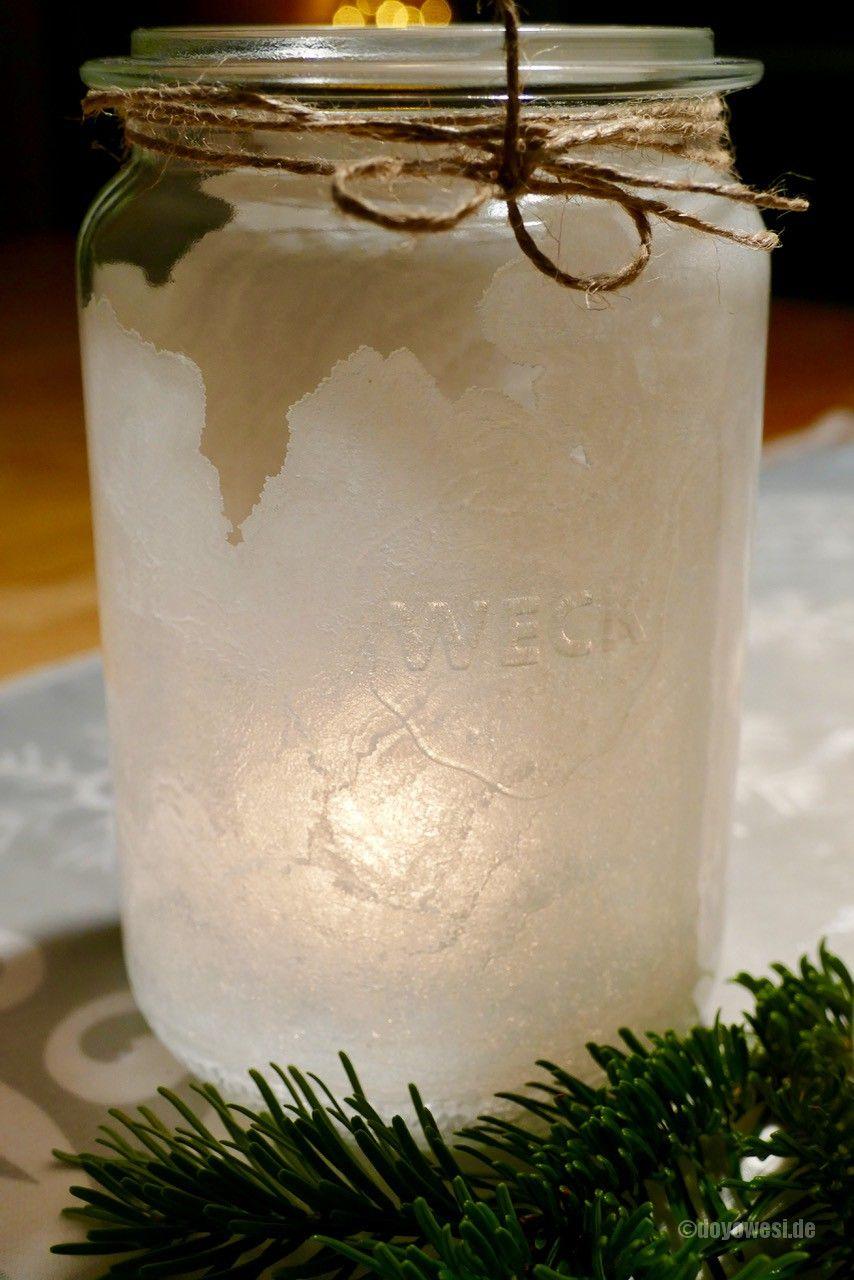 Salzkristallglas Eislicht Schneelicht Basteln Pinterest Snow