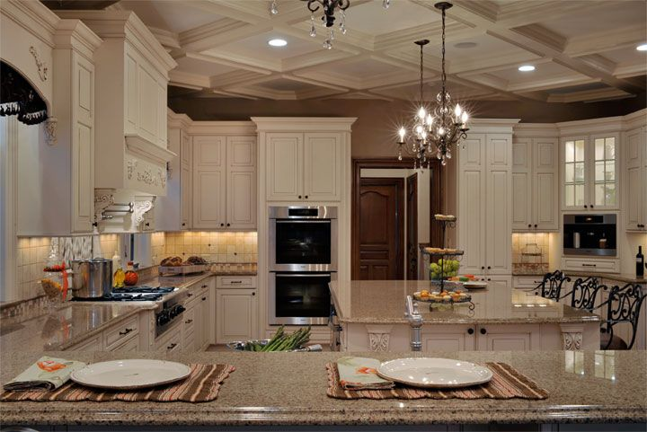 Kitchen Designs By Ken Kelly Recently Finished This Elegant Long Island  Kitchen In Garden City New York For A Large Scale Room With Grand Coffered  Ceilings.