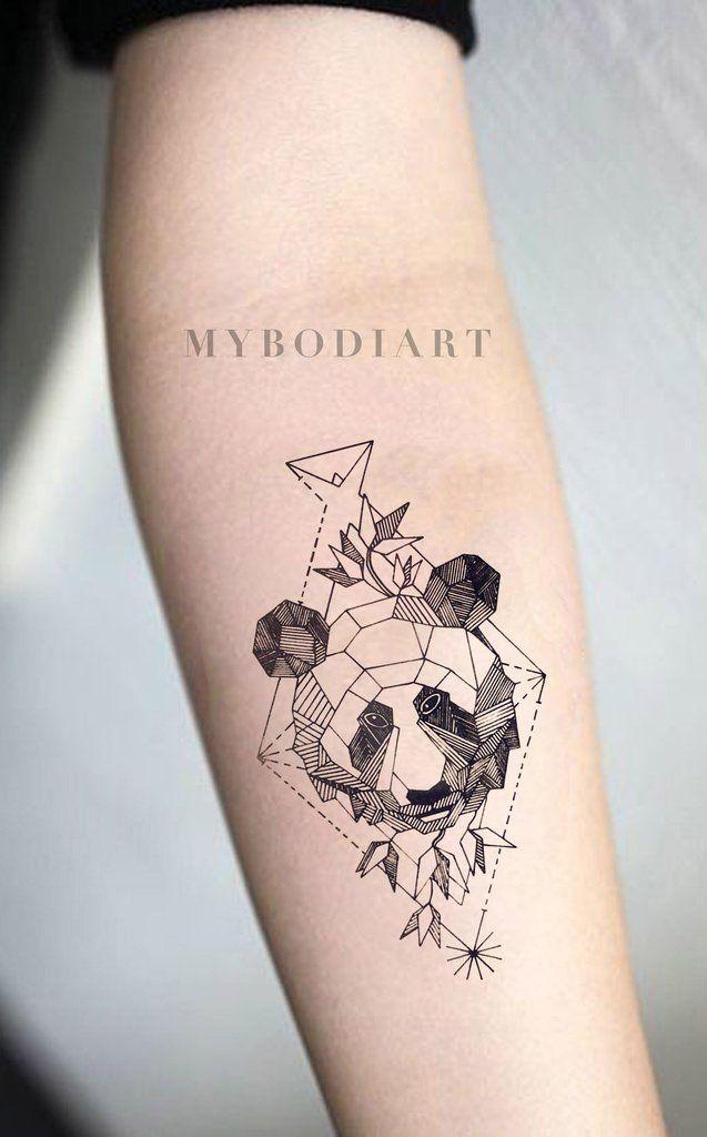 Bai Bai Small Black Geometric Panda Spirit Animal Temporary Tattoo Geometric Tattoo Panda Tattoo Forearm Tattoo
