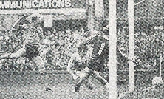 14 September 1985 Graeme Sharp dives to head Everton's second in a 2-0 defeat of Luton