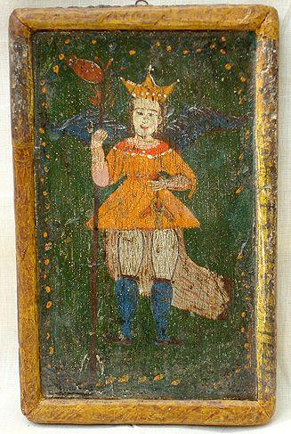 "Retablo ""Arcángel San Rafael"" Colonial venezolano. Edo. Lara. Siglo XVIII. Óleo/tabla. Medidas: 21 x 15 cms."