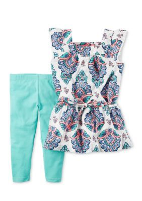 Infant Toddler Girls Mint /& White Floral Tank /& Legging Outfit 2 Piece Outfit
