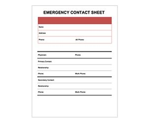 emergency contact sheet get this free printable customizable