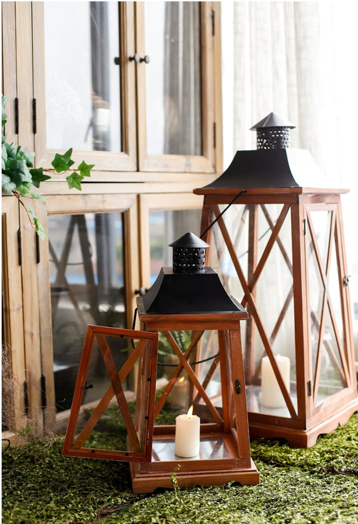 Vintage Furniture Glass Living Room Showcase Design Wood: Charcoal Burning Glass Lantern Candleholders European Wood