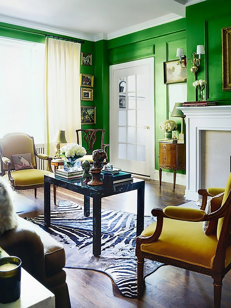 Designer tested palettes sabrina sotos cheery paint picks apartment therapy bright green walls make a bold statement in this classic living room