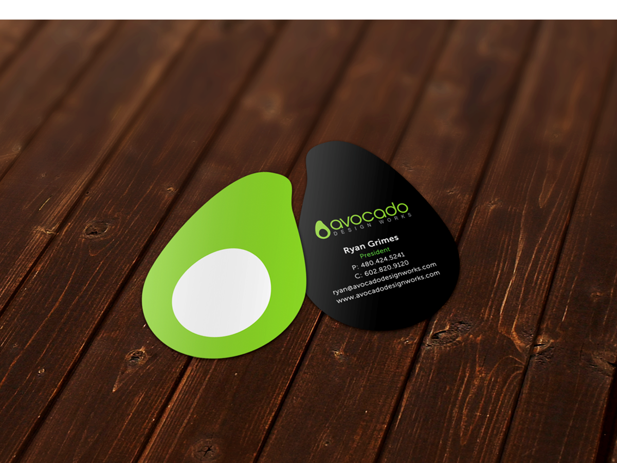 Unique Avocado shaped Business Card. | My Graphic Designs ...