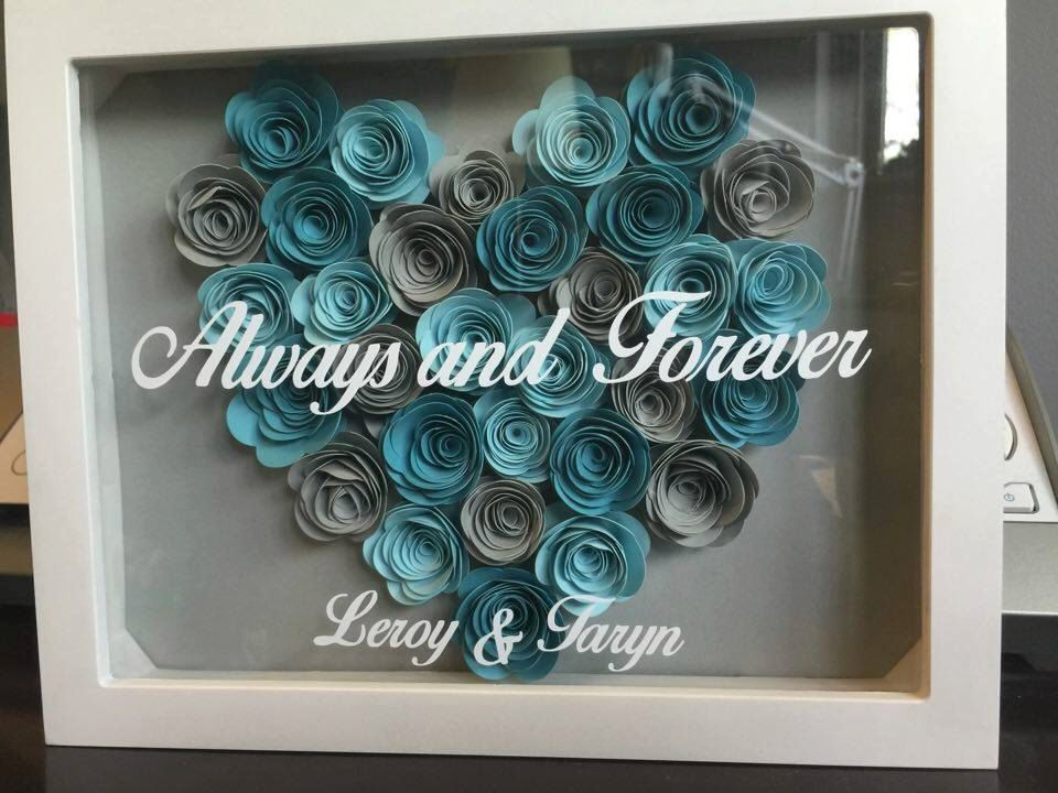 8x10 Shadow Box With Hand Rolled Roses Swankily Always