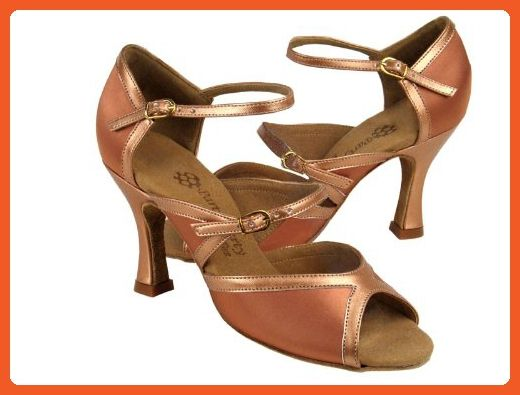 cd7155831f3ef Ladies Latin Ballroom Party Party PP207 Tan Satin & Copper Nude 2.5 ...