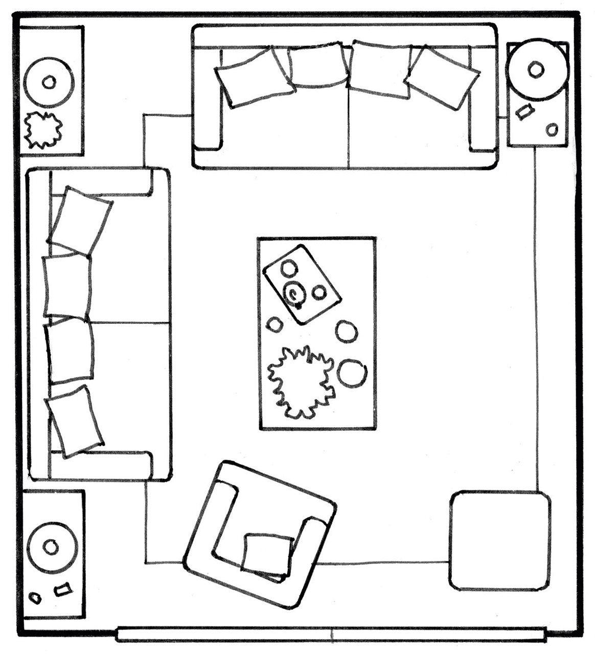 Plano de salón con dos sofas dispuestos en L. Distribución de los ...