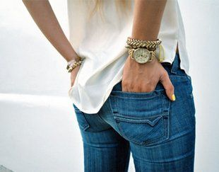 Jeans, in the perfect shade of blue, with cream and gold.