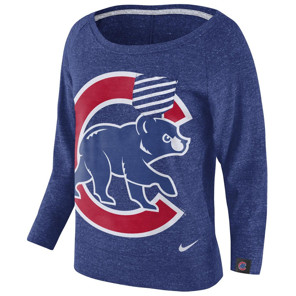 Women's Nike Royal Chicago Cubs Gym Vintage Pullover