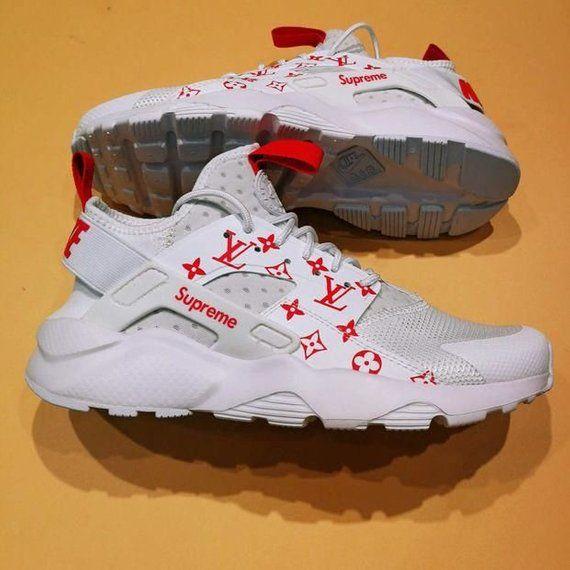 Sur mesure chaussures blanc/rouge Nike Air Huarache LV