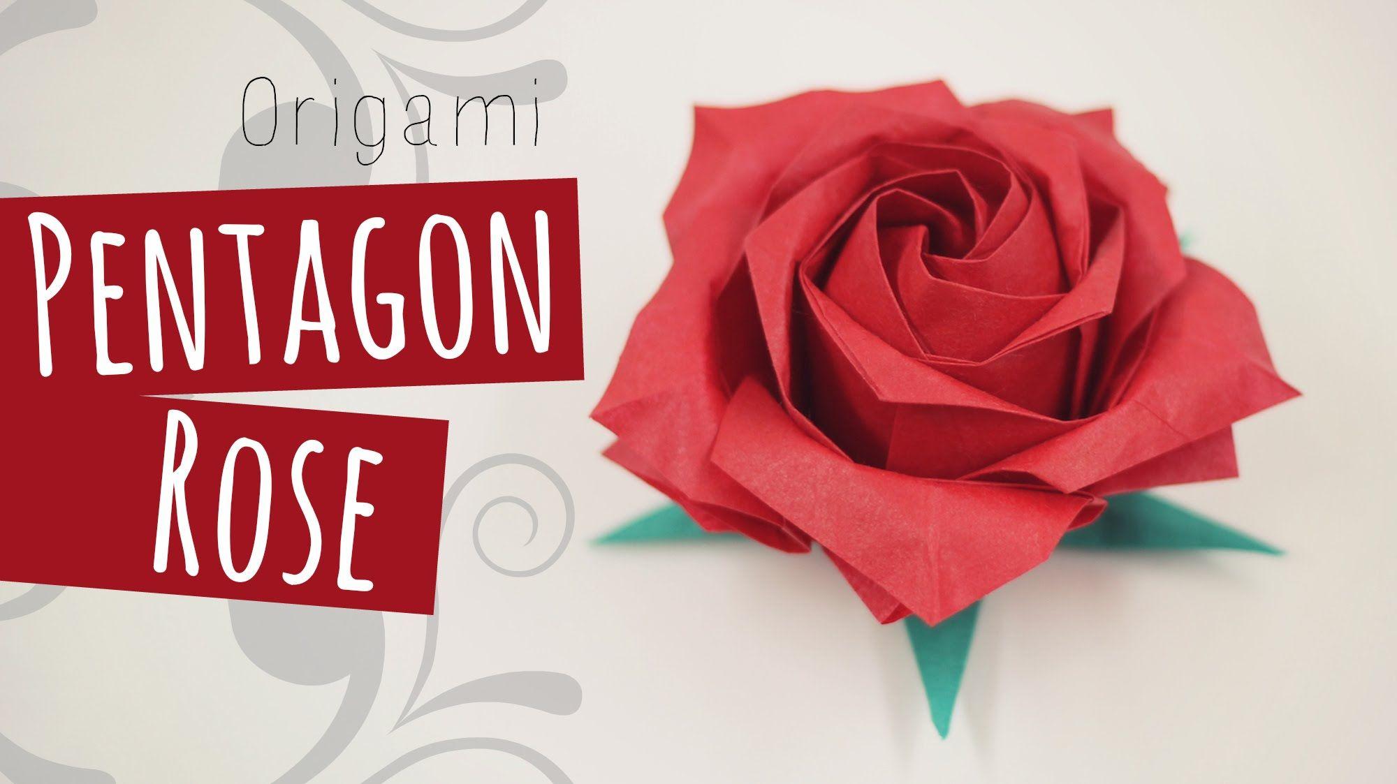 Origami Pentagon Rose tutorial. Intermediate level origami ... - photo#28