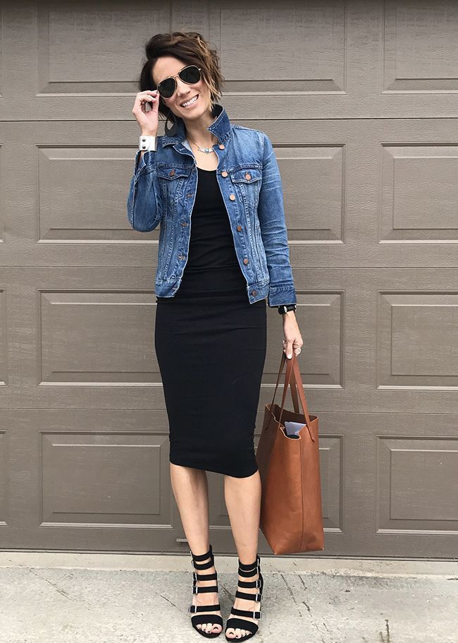 Outfit vestido negro con blazer