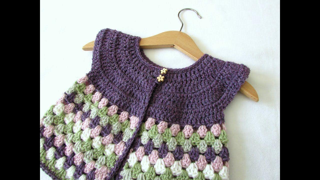 144bafbb9476 How to crochet a baby   girl s granny stripe cardigan