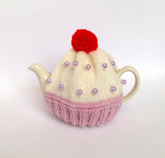 SMALL Dusky Pink Tea Cosy Pink Cup Cake Tea by KnitADeeDooDah ...