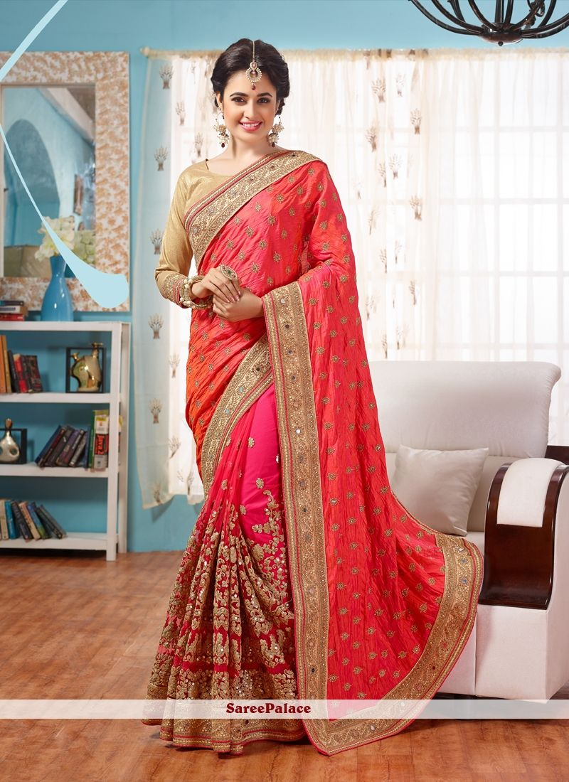 cb3f1ae1990 Eye-Catchy Hot Pink Classic Designer Saree
