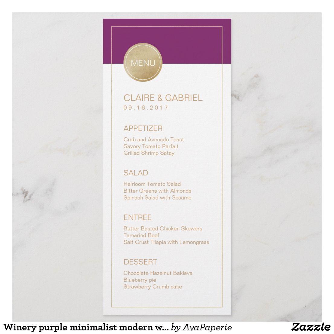 winery purple minimalist modern wedding menu  zazzle