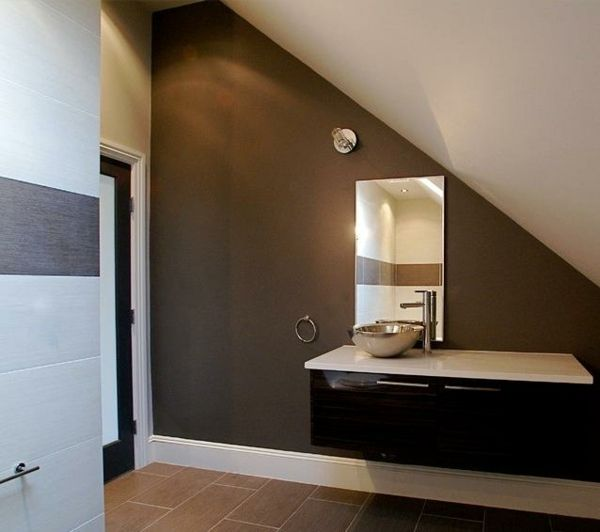 Ideen Badezimmer mit Dachschräge braune akzentwand Badezimmer - ideen für badezimmer