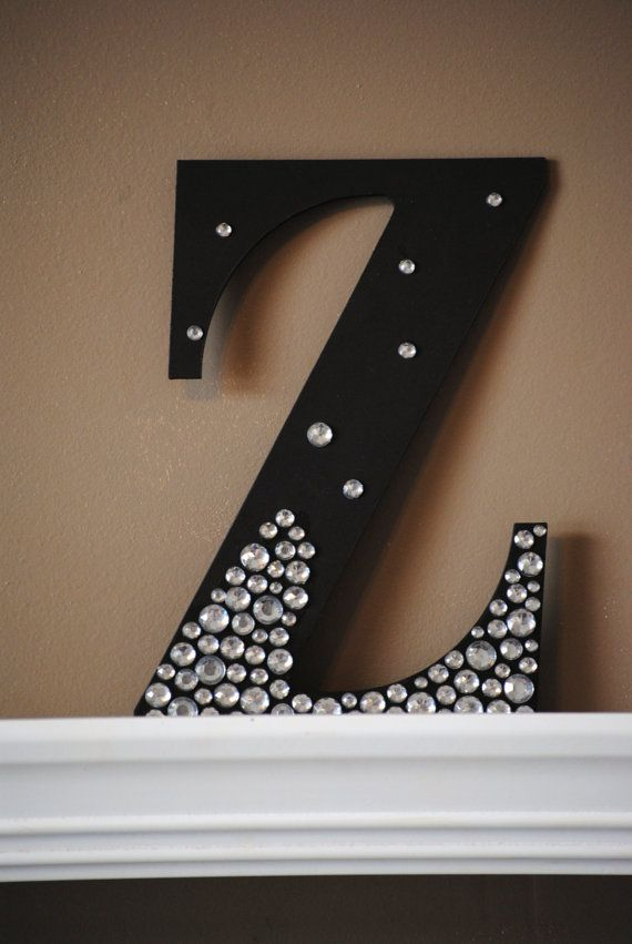 Black Semi Bling Sparkle Wall Letters by LettersFromAtoZ Adrianne