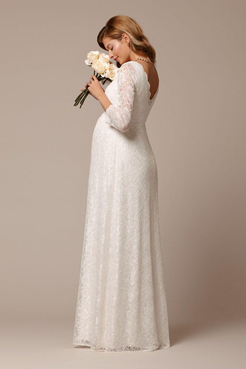 Plus Size Umstandsbrautkleid mit Spitzenärmeln lang  Brautkleid