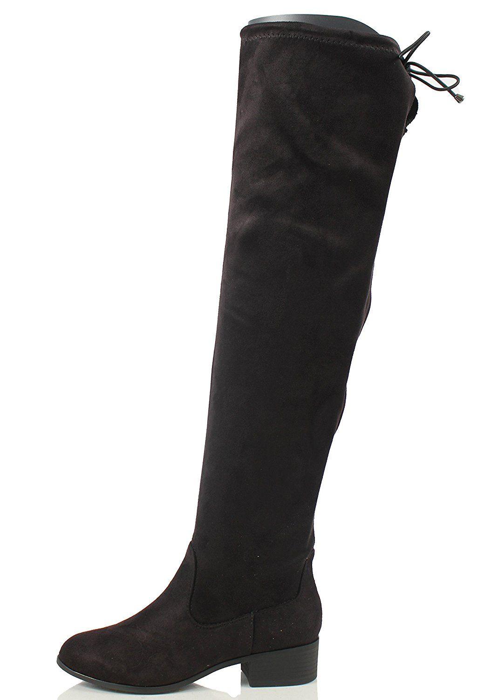 Soda Women\'s Faux Suede Back Tie Over The Knee Low Heel Dress Boot ...
