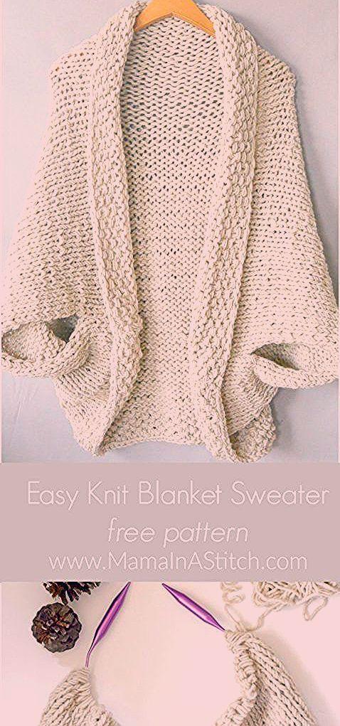 free easy knit shrug sweater pattern  #mamainastitch #knitting #knit #freepattern #duy #crochet