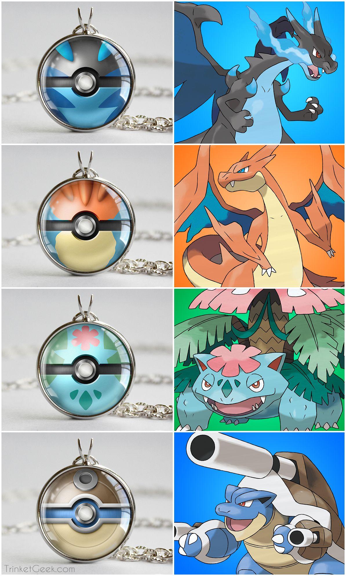 Pkmn Kanto Starter Themed Pokeball Pendants Pokemon Pokémon
