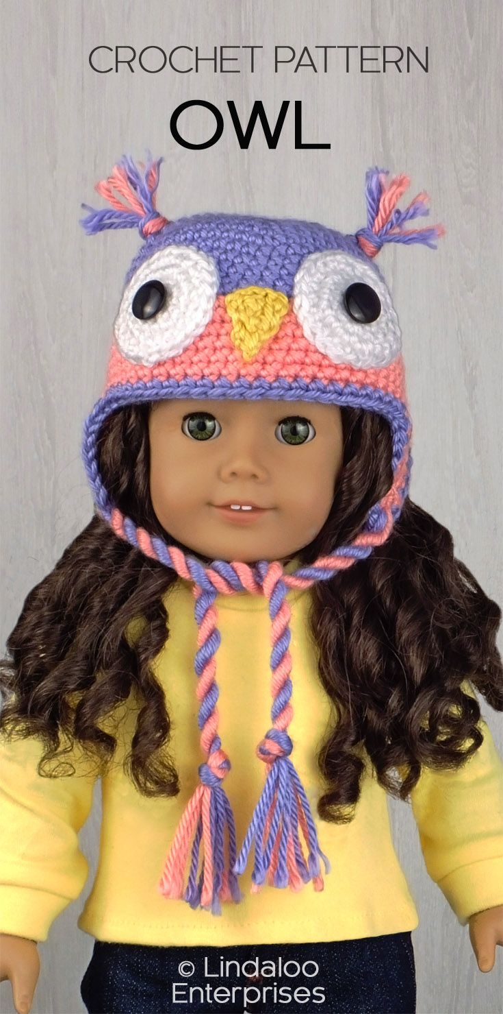 OWL HAT for American Girl Dolls ❤ Crochet pattern from the book ...