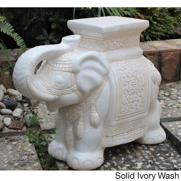International Caravan Large Porcelain Elephant Stool By