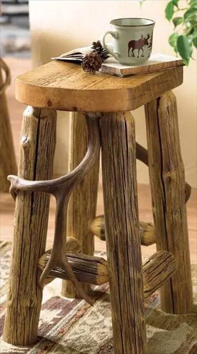 bar l log back twin rustic stools stool