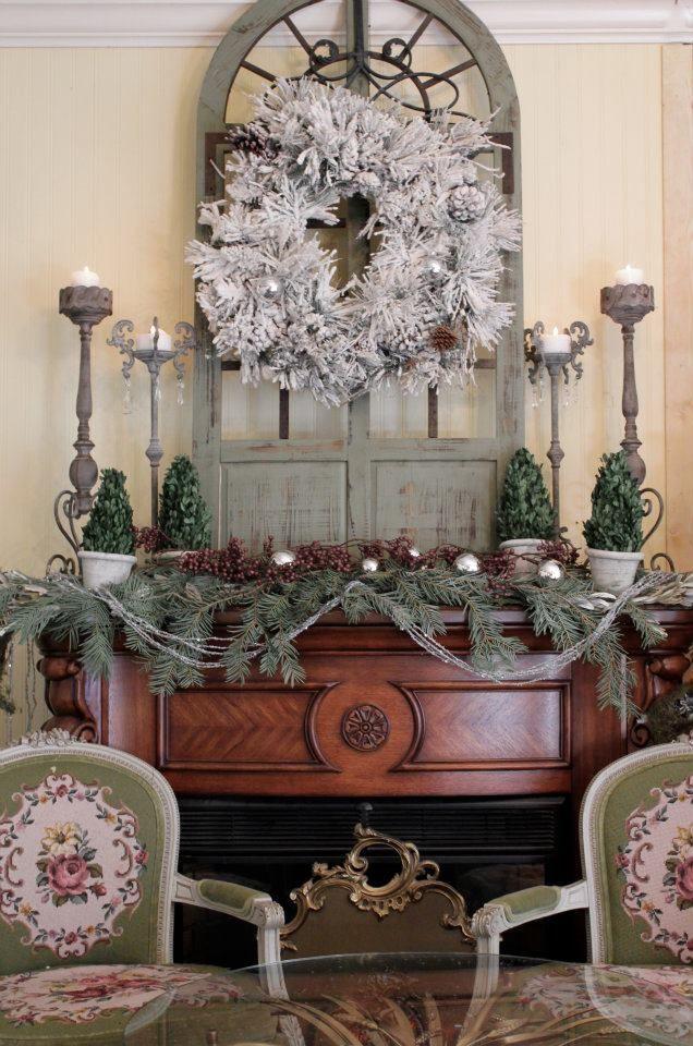 Christmas decor over a vintage fireplace Christmas Decor - christmas decor pinterest