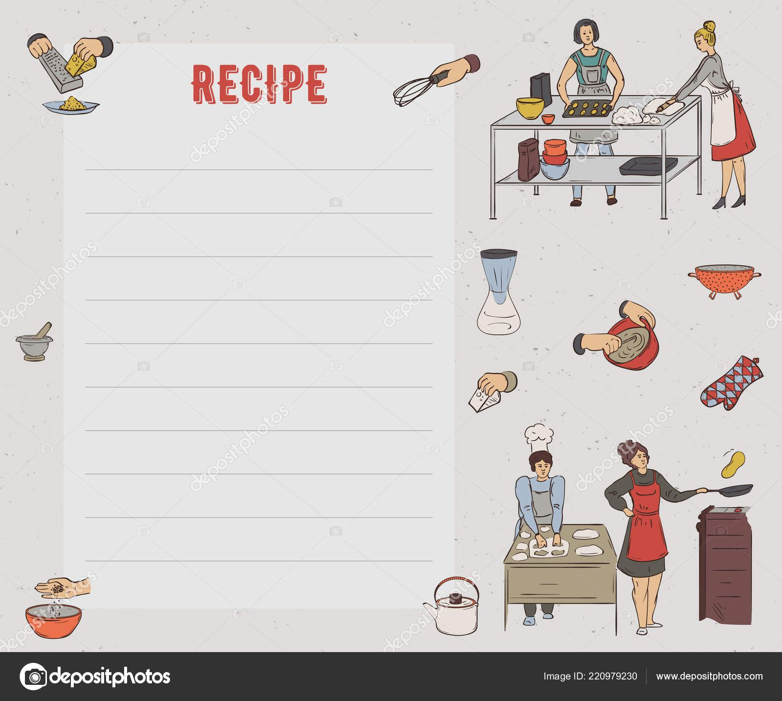 Recipe Card Cookbook Page Design Template People Preparing Throughout Restaurant Recipe Card Te Recipe Cards Template Loyalty Card Design Create Business Cards