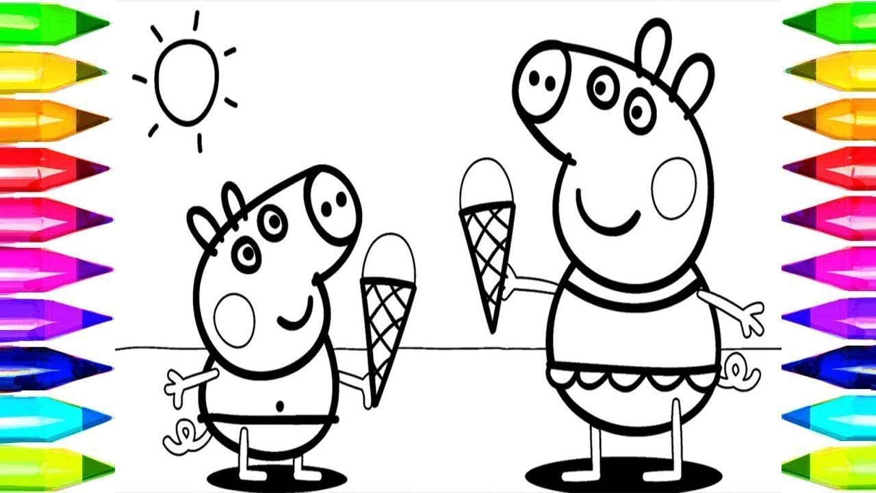 Peppa Pig Ice Cream Funny Drawing & Coloring PeppaPig