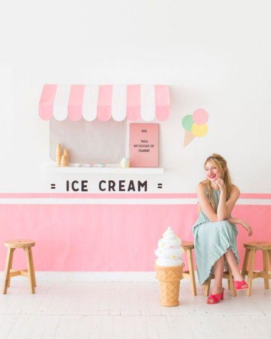 Wanddeko Ideen für Party mit einem besonders frischen Hauch Icecream