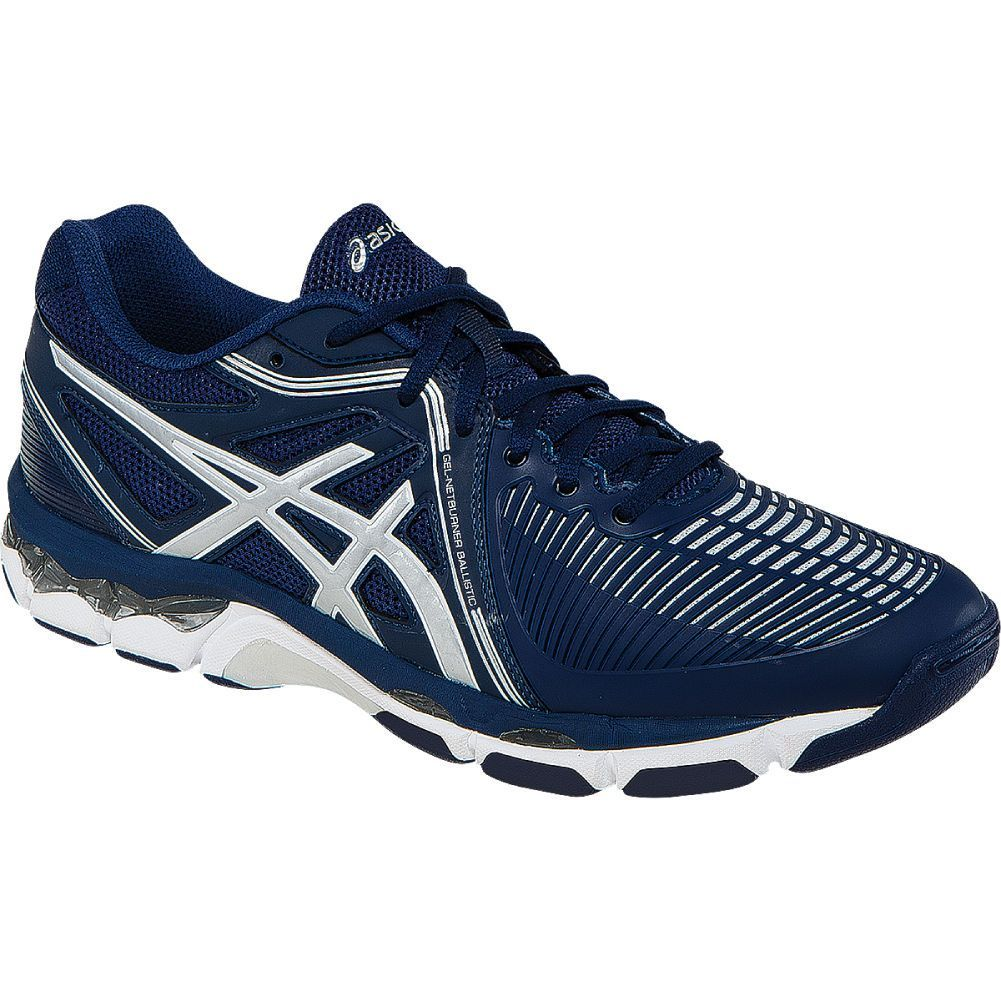 Asics Gel Netburner Ballistic Womens Volleyball Shoe Navy Silver Volleyball Shoes Asics Asics Shoes