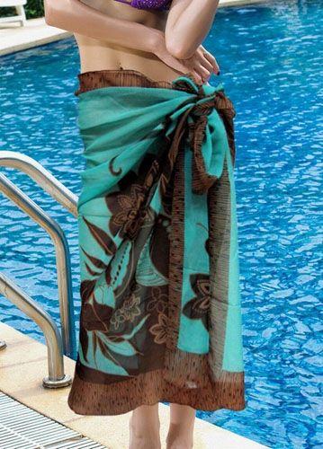 Exquisite Flower Rectangle Beach Sarong/Wrap Dress of Chiffon-Dark blue - Swimwear - Fashion