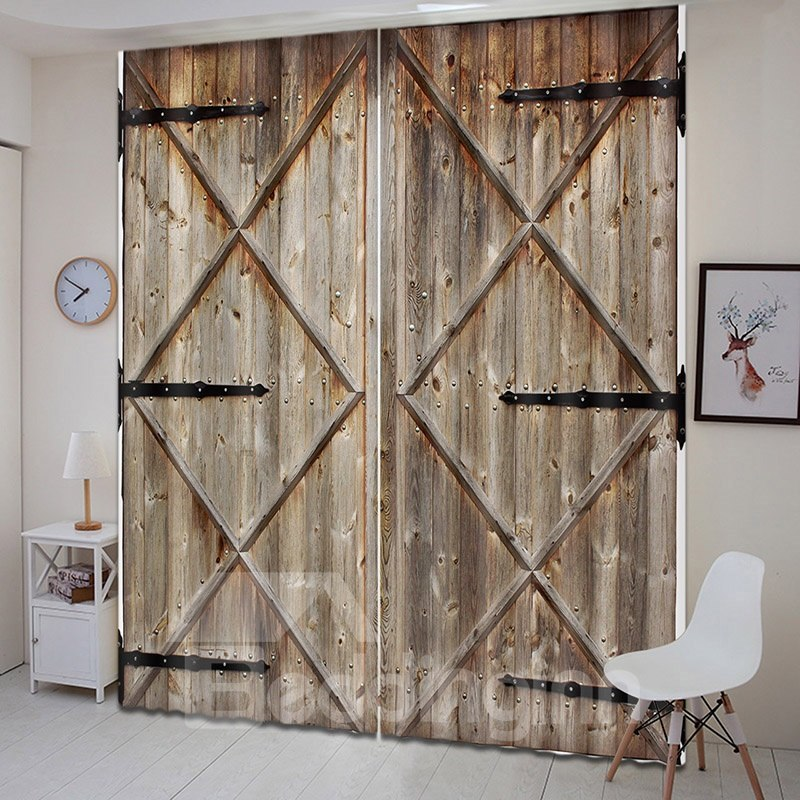 3d Vintage House Old Wooden Barn Door Printed Curtains Wooden Barn Doors Printed Curtains Barn Door