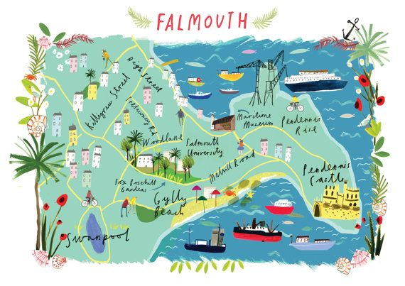 Illustrated A4 Map Of Falmouth Cornwall Uk Etsy Illustrated Map Falmouth Cornwall Cornwall Map