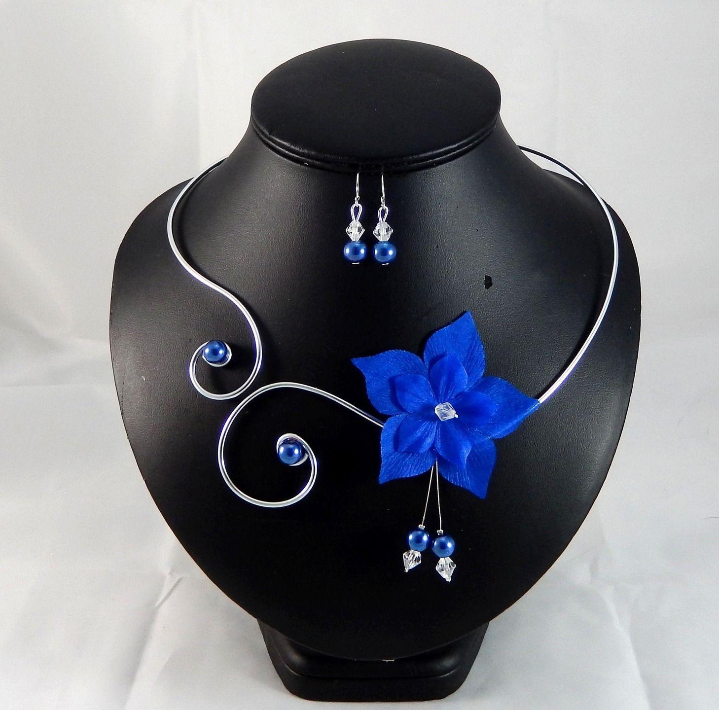 Eline - Parure fleur bleu roi - personnalisable : Parure par creation-ninie