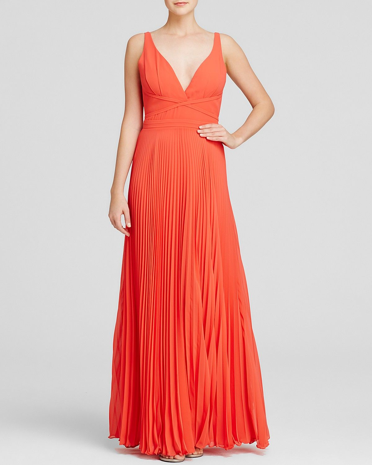 5a2b3ce57 Laundry by Shelli Segal Gown: Sleeveless Deep V-Neck with Pleated Skirt. |  Just got this gorgeous gown from Bloomingdale's for a black-tie summer  wedding ...